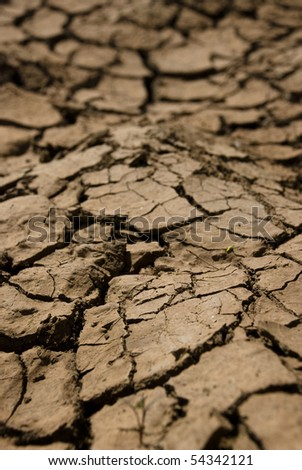 Dried out red soil with cracks - stock photo