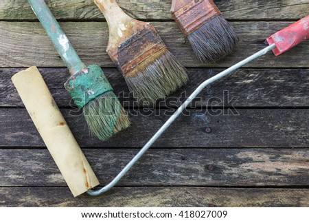 Dried Paint Old Brush Repair Vintage Stock Photo 418027027