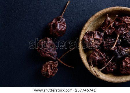 Dried pears in a bowl. Dried fruit - stock photo