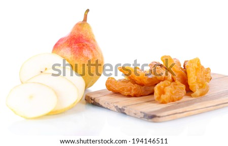 Dried pears, isolated on white - stock photo