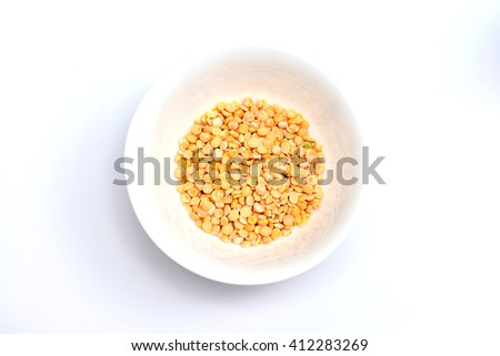 Dried peas isolate on a white background. Barley split peas. Dried peas on a white background. Dried peas for a healthy diet - stock photo