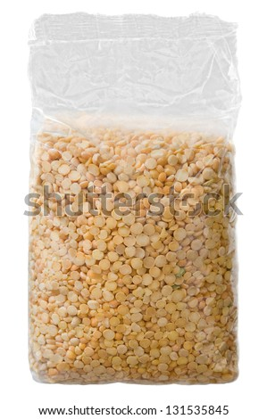 Dried peas pack isolated over white background - stock photo