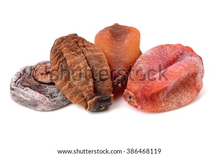 dried persimmon on white background  - stock photo