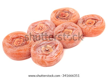 Dried persimmons Isolated on white background - stock photo