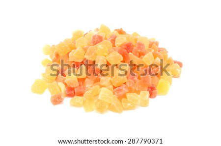 Dried pineapple and papaya pieces, isolated on a white background - stock photo
