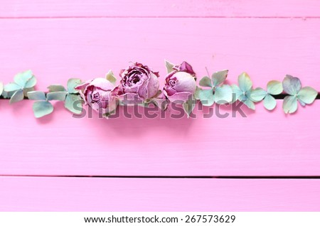 Dried pink rose buds and pale blue, green hydrangea petals arranged in a row on pink painted wooden boards, wedding or valentine unusual, quirky floral arrangement   - stock photo