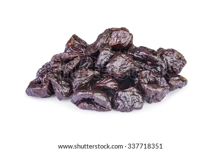 Dried pitted Prunes isolated on a white background  - stock photo