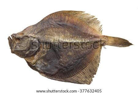 Dried plaice isolated on white - stock photo