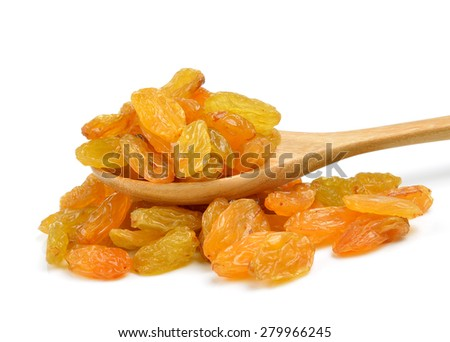 Dried raisins in the wood spoon on a white background - stock photo