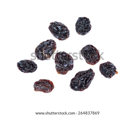 Dried raisins isolated on a white background. - stock photo
