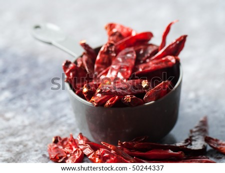 Dried red chillies used in cooking - stock photo