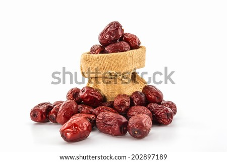 Dried Red chinese jujube on white background.  - stock photo
