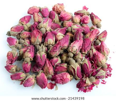 Dried Rosebuds, shot on white - stock photo