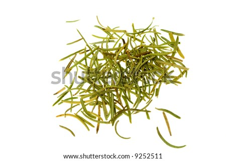 Dried rosemary leaves or needles, isolated over white. - stock photo