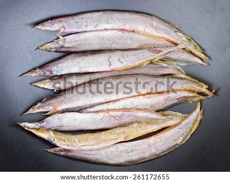Dried Salted Spotfinned Spinyeel Macrognathus Siamensis On Dish