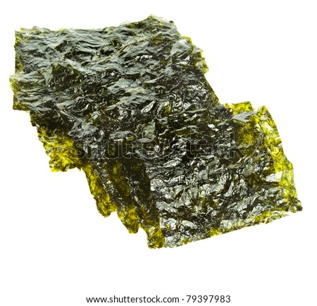 dried seaweed kelp close up surface isolated - stock photo