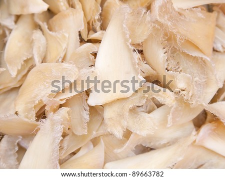 Dried shark fins in the traditional chinese shop - stock photo