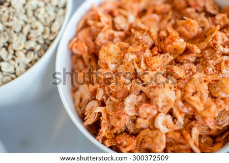 Dried shrimp in a bowl, Thai food's ingredient