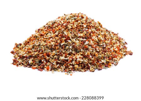 Dried spice mix isolated on a white background