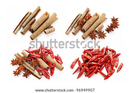 Dried Spices  on the white background