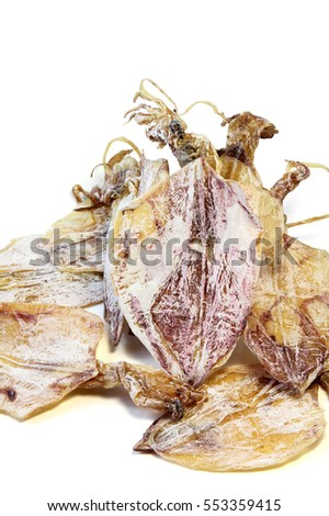 Dried squid on white background, seafood.