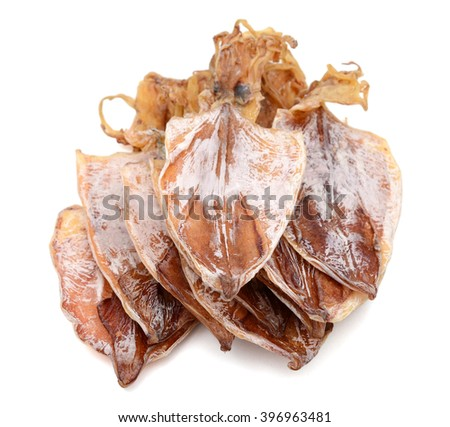 dried squids on white background