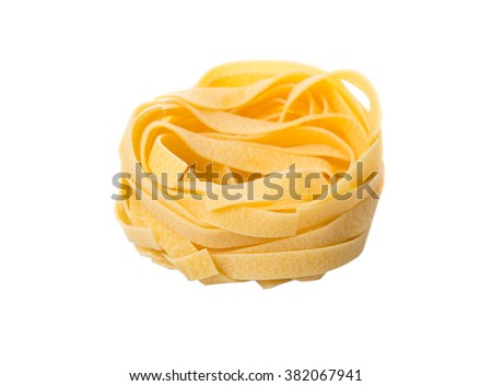 Dried tagliatelle pasta or ribbon shaped pasta or nest shape pasta over white background