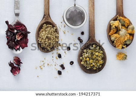 Dried Tea in Spoon - stock photo