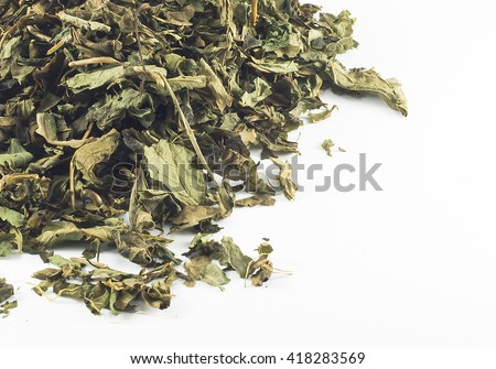 Dried tea leaves isolated on white background.copy space - stock photo
