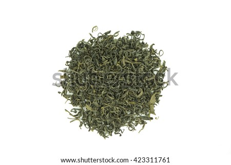 Dried tea leaves on  white background,Aromatic oolong tea. - stock photo