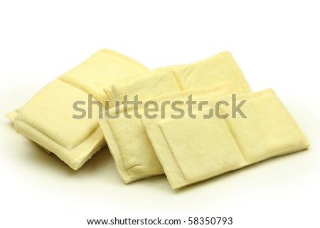 Dried tofu on white background