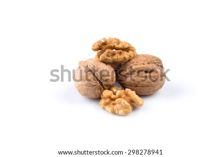 Dried walnut isolated on a white background