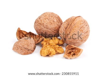 Dried walnuts isolated on a white background