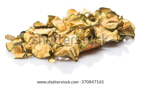 Dried zucchini or courgette over white background