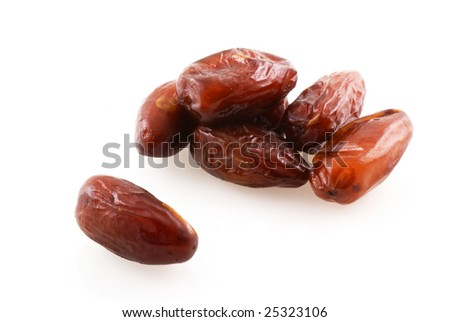Dries dates on a white background.