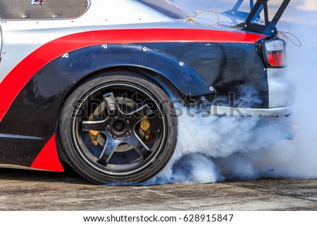 Drift Car Car Wheel Drifting Smoking Stock Photo 628915847