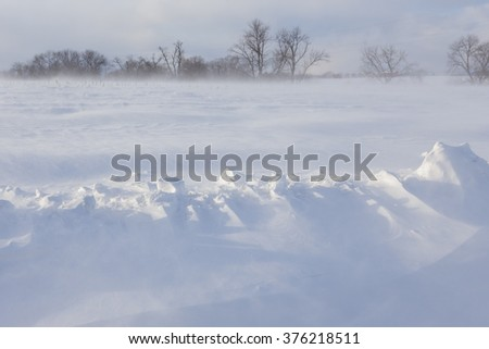 Drifted blowing snow