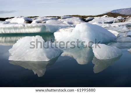 Driftende Eisberge in der Gletscherlagune Joekulsarlon, Island - stock photo