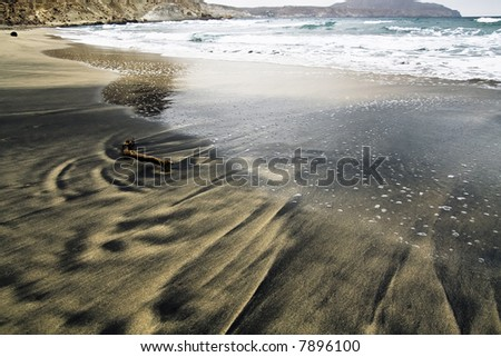 Driftwood in the sand in a volcanic beach located in Almeria, Spain - stock photo