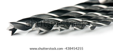 Drill bits, isolated on white background close-up