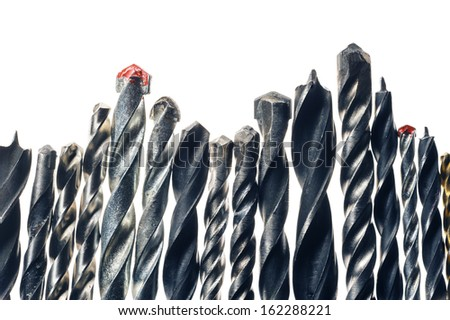Drill bits macro view  isolated on white background - stock photo