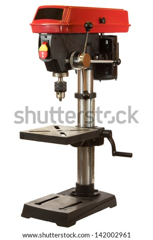 Drill press isolated on a white background.
