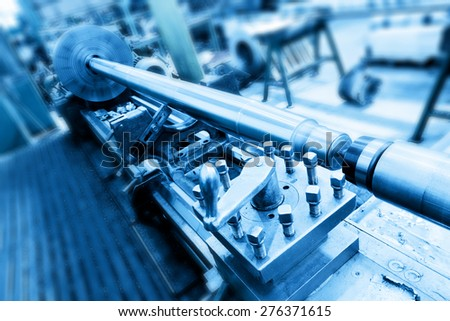 Drilling, boring and milling machine at work in workshop. Industry, industrial concept. - stock photo