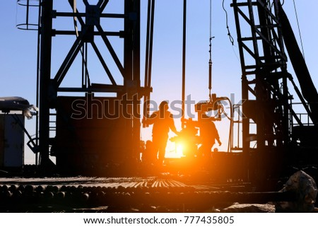 drilling exploration, the oil workers are working