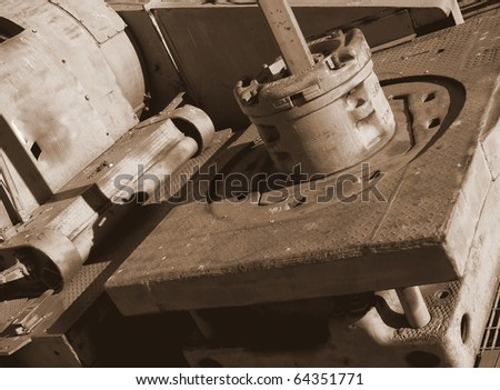 Drilling floor of the retired oil derrick used to find the first major oil field in Alberta, affectionately know as Leduc # 1. - stock photo