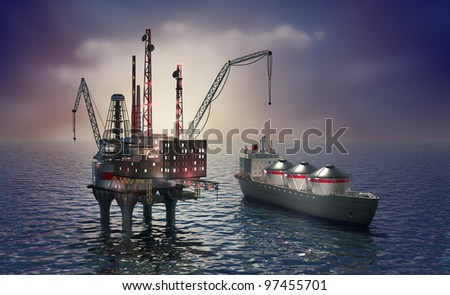 Drilling offshore platform and tanker - stock photo