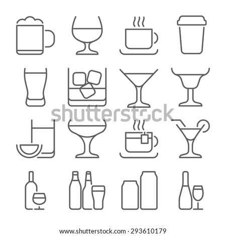 Drink alcohol beverage outline icons set