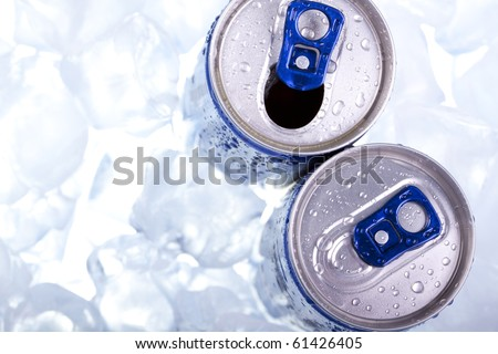 Drink can in ice top view - stock photo