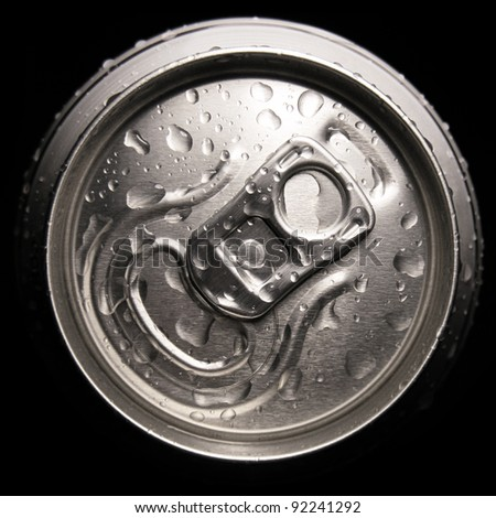 Drink can with drops of water. Top view - stock photo