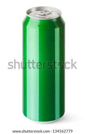 Drink can with the ring pull. Isolated on a white. - stock photo